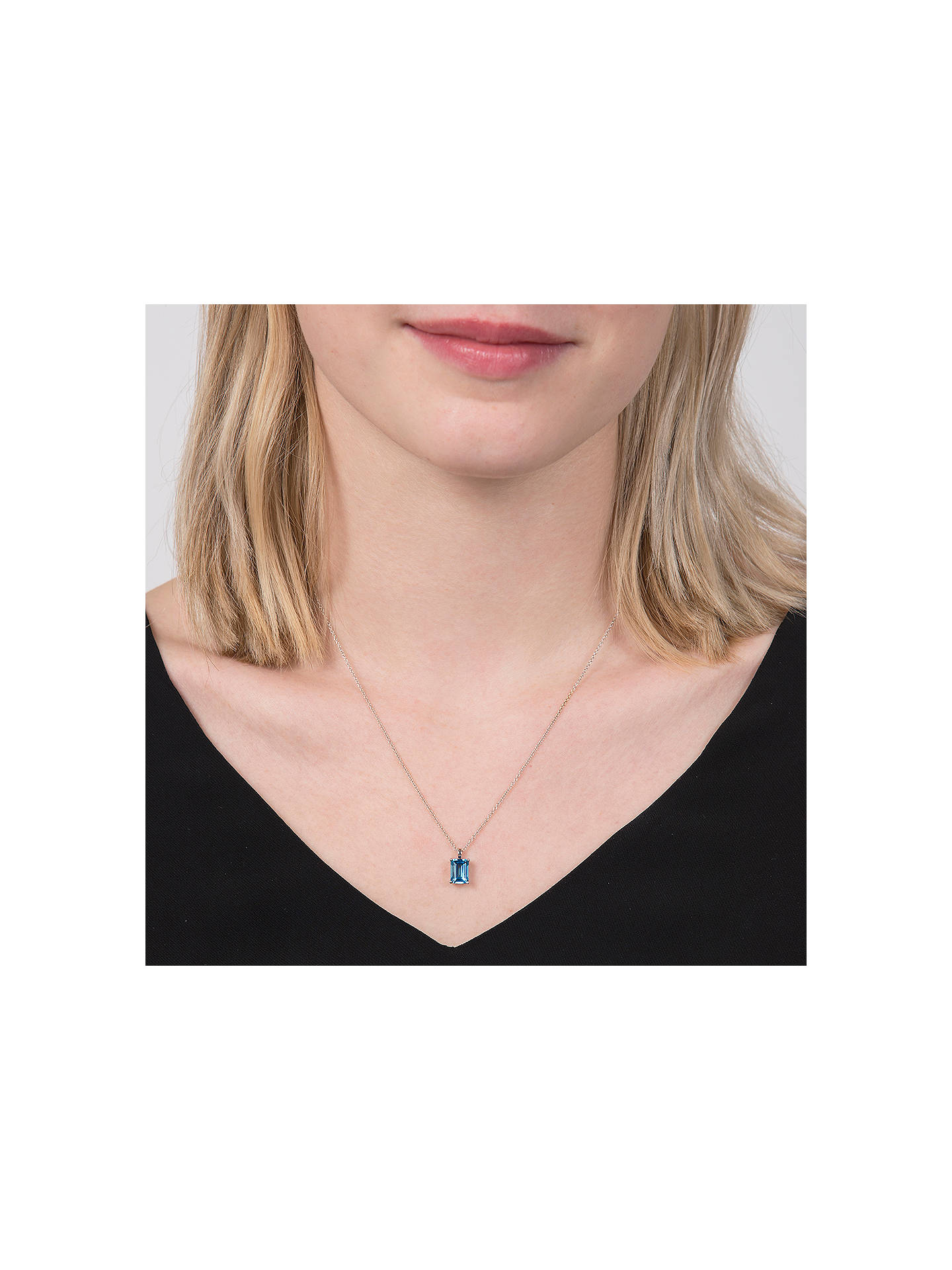 BuyEWA 9ct White Gold Baguette Pendant Necklace, Blue Topaz Online at johnlewis.com