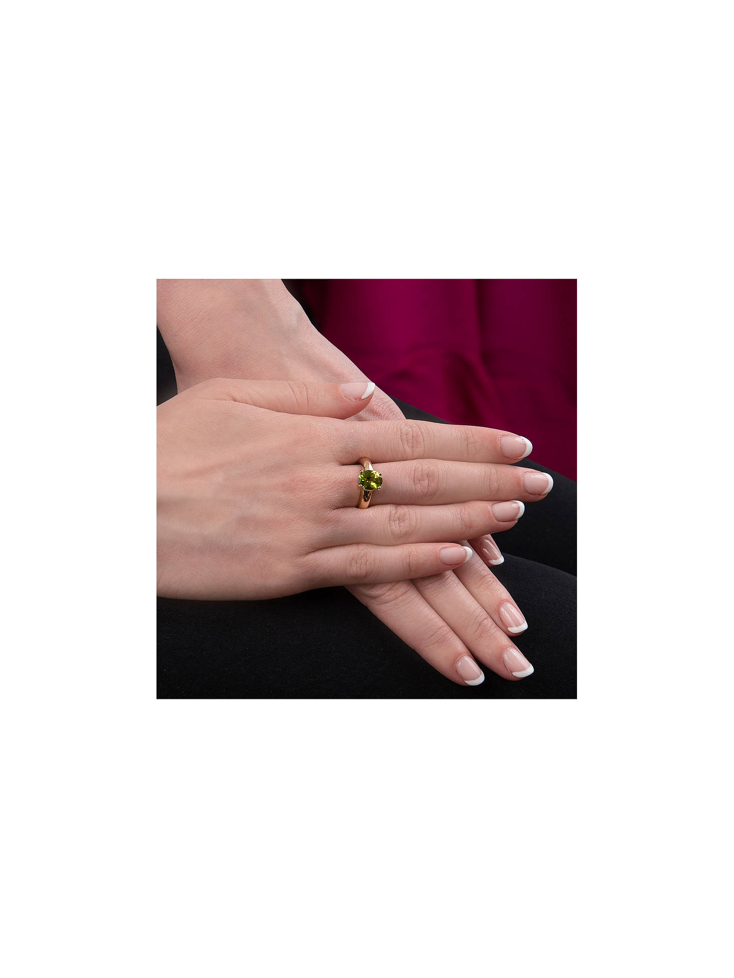 Buy E.W Adams 9ct Gold Oval Ring, N, Peridot Online at johnlewis.com