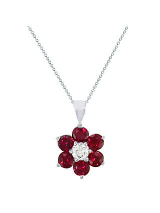 EWA 18ct White Gold Diamond and Ruby Flower Pendant Necklace, Silver/Ruby