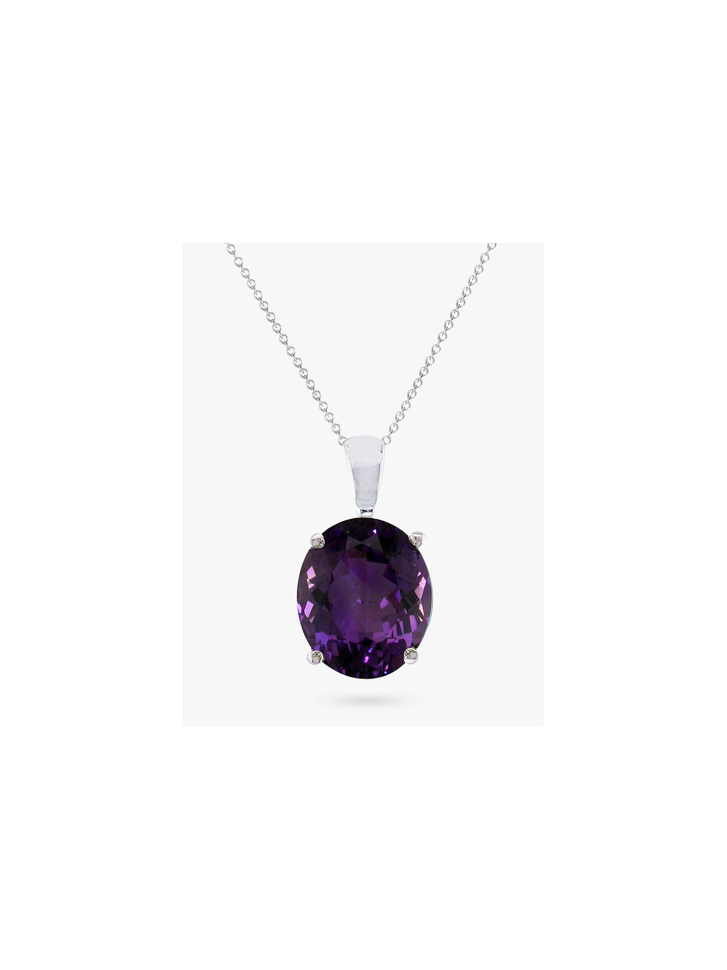 Buy E.W Adams 9ct White Gold Oval Pendant Necklace, Amethyst Online at johnlewis.com