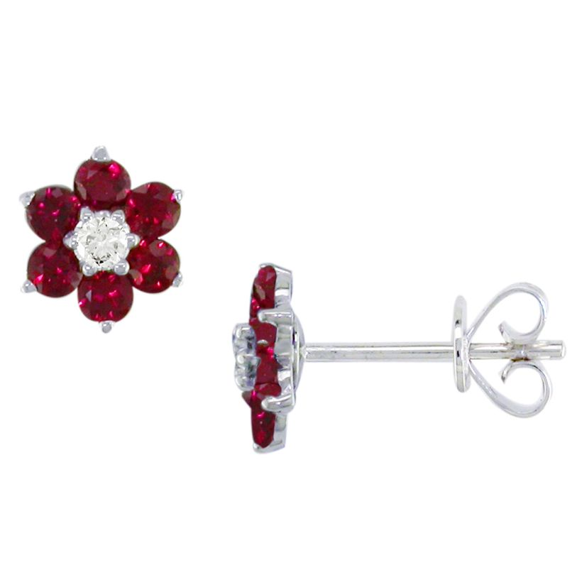 Ruby Wedding Gifts John Lewis: E.W Adams 18ct White Gold Ruby And Diamond Flower Stud