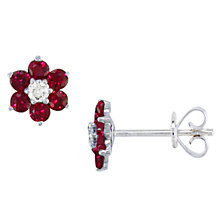 Buy EWA 18ct White Gold Ruby and Diamond Flower Stud Earrings, Red Online at johnlewis.com
