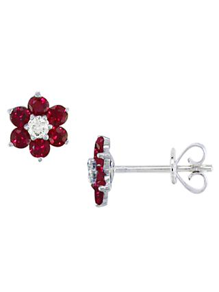 E.W Adams 18ct White Gold Ruby and Diamond Flower Stud Earrings, Red