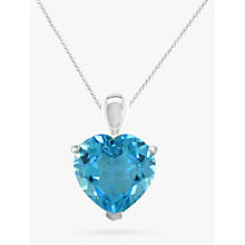 Buy EWA 9ct White Gold Heart Pendant Necklace, Blue Topaz Online at johnlewis.com