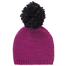 Buy John Lewis Purl Stitch Beanie Hat, Magenta Online at johnlewis.com