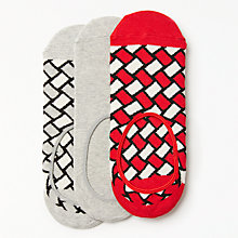 Buy Happy Socks Patterned Shoe Liners, One Size, Pack of 3, Red/White/Grey Online at johnlewis.com