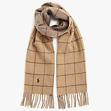 Buy Polo Ralph Lauren Windowpane Scarf, Camel Online at johnlewis.com