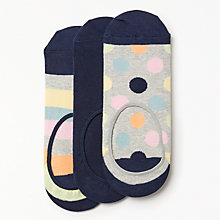 Buy Happy Socks Spots Shoe Liners, One Size, Pack of 3, Navy/Grey/Pastels Online at johnlewis.com