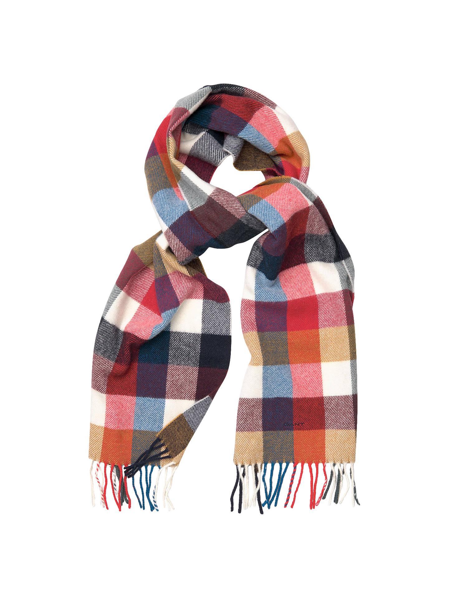 BuyGANT Multi Check Wool Scarf, Multi Online at johnlewis.com ... a2e110831b8