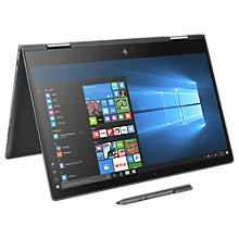"Buy HP Envy X360 15-bq052na Laptop, AMD A12, 8GB RAM, 256 SSD, 15.6"" Full HD Touch Screen, Dark Ash Silver Online at johnlewis.com"