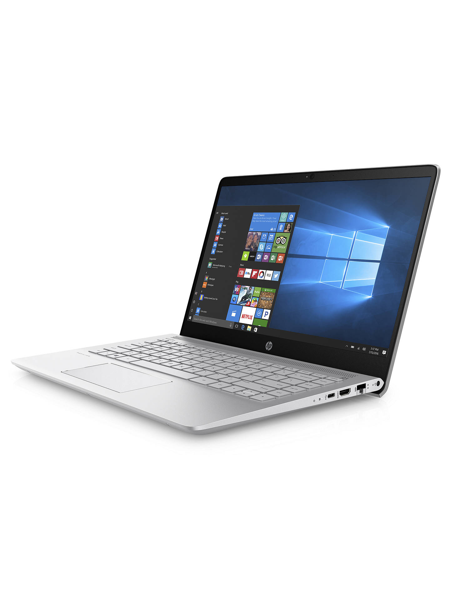 "Buy HP Pavilion Pro 14-bf010na Laptop, Intel Core i7, 8GB, 256GB M.2 SSD, NVIDIA GeForce 940MX, 14"", Mineral Silver Online at johnlewis.com"