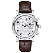 Buy Montblanc 106466 Unisex Star Collection Automatic Chronograph Day Date Leather Strap, Brown/Silver Online at johnlewis.com