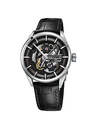 Oris 01 734 7714 4054-07 5 19 81FC Men's Artix Automatic Skeleton Leather Strap Watch, Black