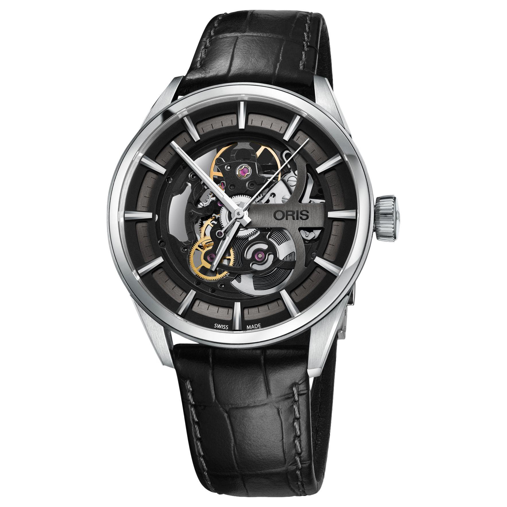 Oris Oris 01 734 7714 4054-07 5 19 81FC Men's Artix Automatic Skeleton Leather Strap Watch, Black