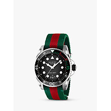Buy Gucci YA136209 Men's Dive Date Fabric Strap Watch, Multi/Black Online at johnlewis.com