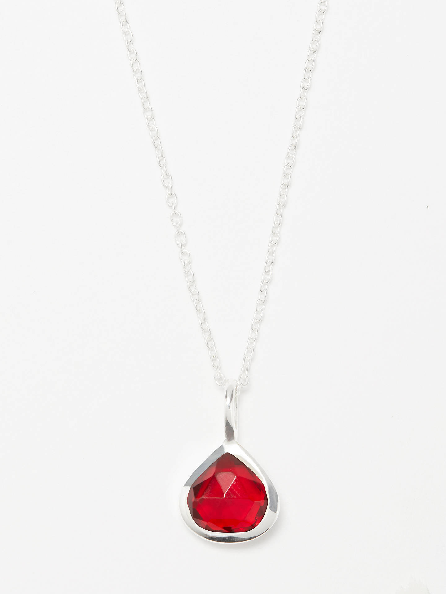 BuyJohn Lewis & Partners Semi-Precious Stone Birthstone Pendant Necklace, January Pink Garnet Online at johnlewis.com