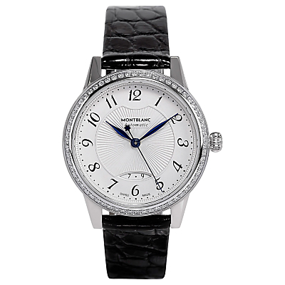Montblanc 111057 Women's Boheme Automatic Diamond Date Leather Strap Watch, Black/White