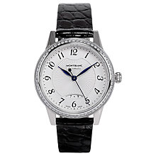 Buy Montblanc 111057 Women's Boheme Automatic Diamond Date Leather Strap Watch, Black/White Online at johnlewis.com