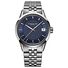 Buy Raymond Weil 2740-ST-50021 Men's Freelancer Automatic Date Bracelet Strap Watch, Silver/Blue Online at johnlewis.com