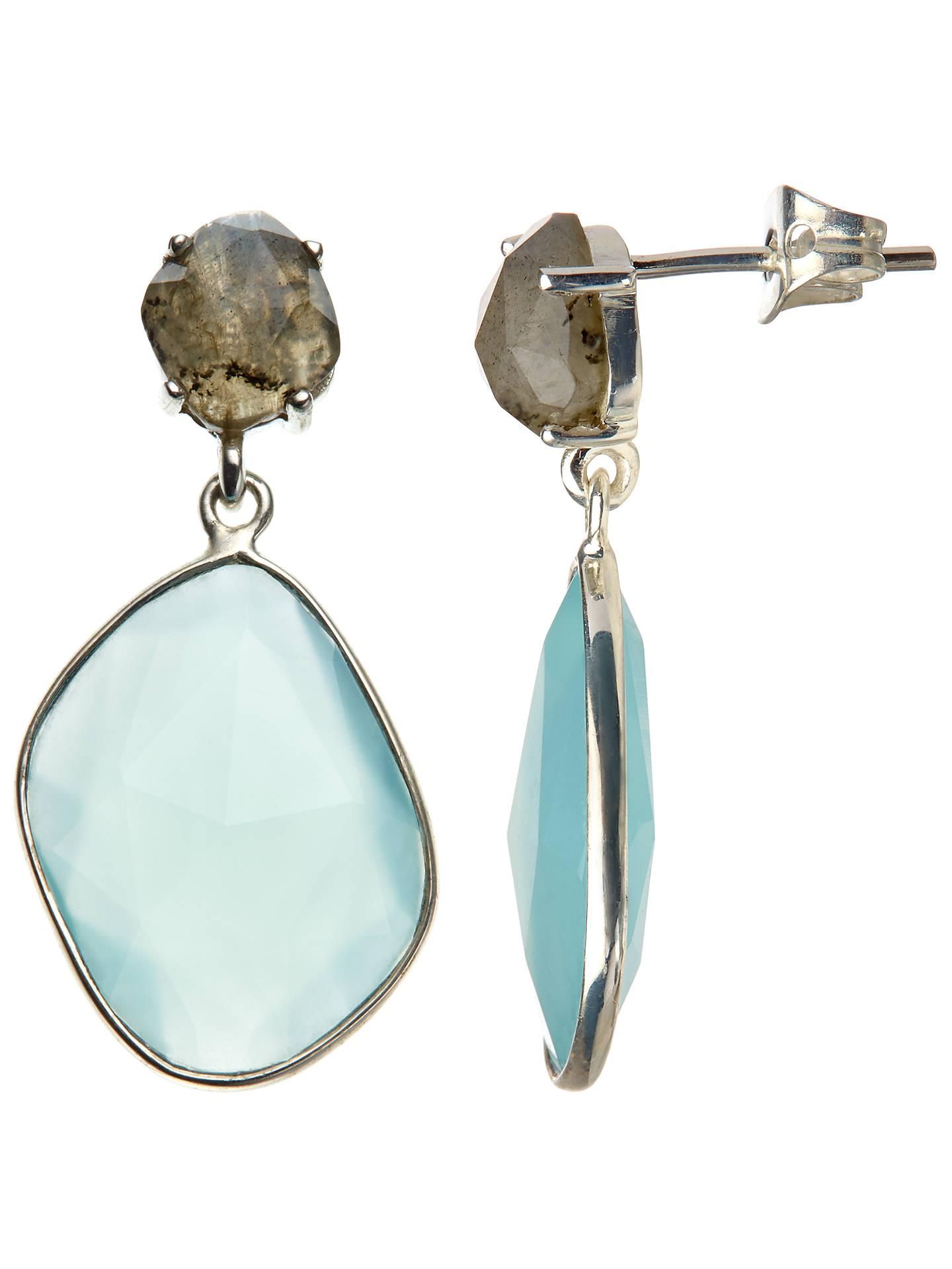 John Lewis Partners Semi Precious Stone Large Drop Earrings Labradorite Aqua Chalcedony