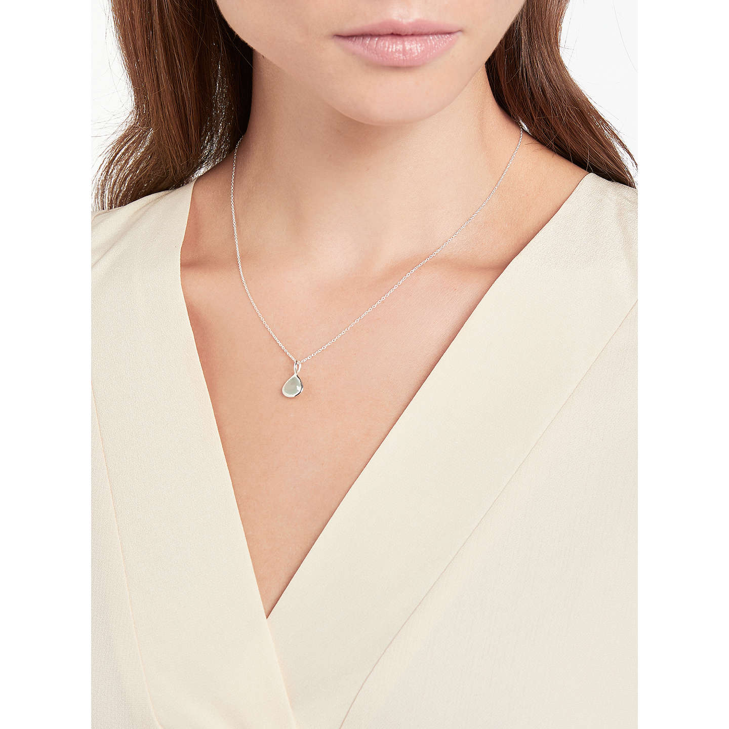 BuyJohn Lewis Semi-Precious Stone Birthstone Pendant Necklace, March Aqua Chalcedony Online at johnlewis.com