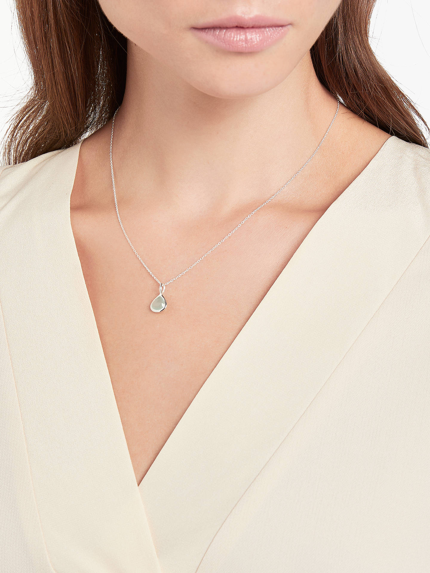 BuyJohn Lewis & Partners Semi-Precious Stone Birthstone Pendant Necklace, March Aqua Chalcedony Online at johnlewis.com