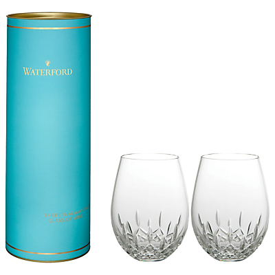 Product photo of Waterford giftology lismore nouveau stemless red wine glasses set of 2