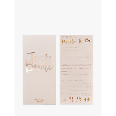 Ginger Ray Advice For The Bride To Be Cards, Pack of 10