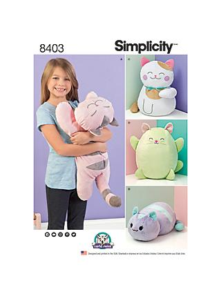 Simplicity Stuffed Plush Cats Sewing Pattern, 8403