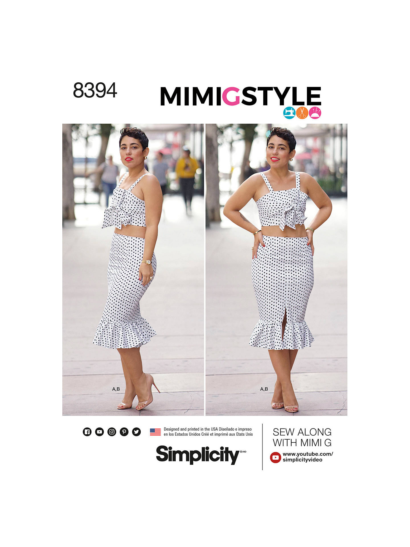 3924f50e4db738 Simplicity Women s Mimi G Style Crop Top and Skirt Sewing Pattern ...