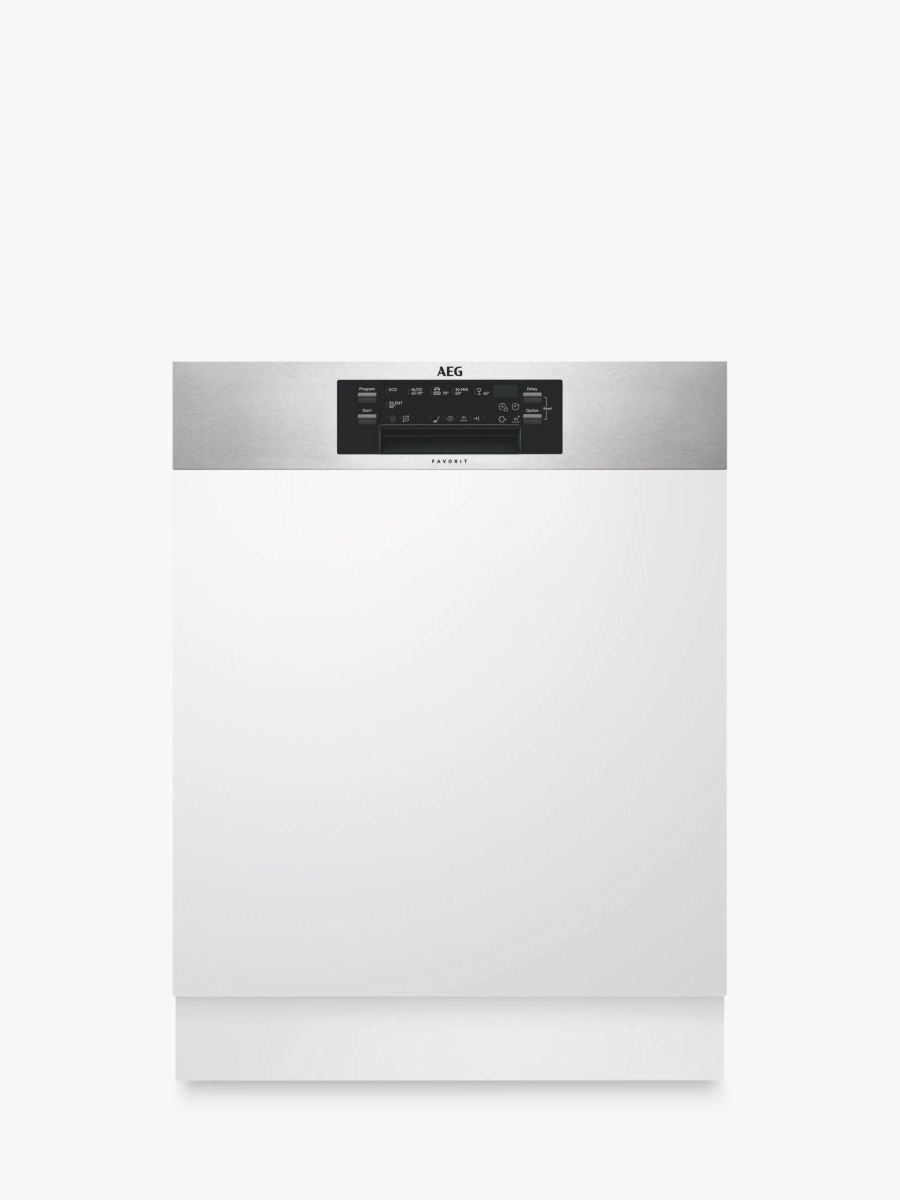 Aeg Fee62600pm Semi Integrated Dishwasher Stainless Steel At John
