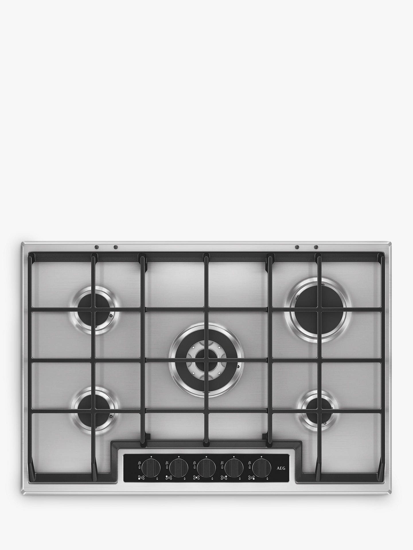 BuyAEG HG75SY5451 Gas Hob, Stainless Steel Online at johnlewis.com