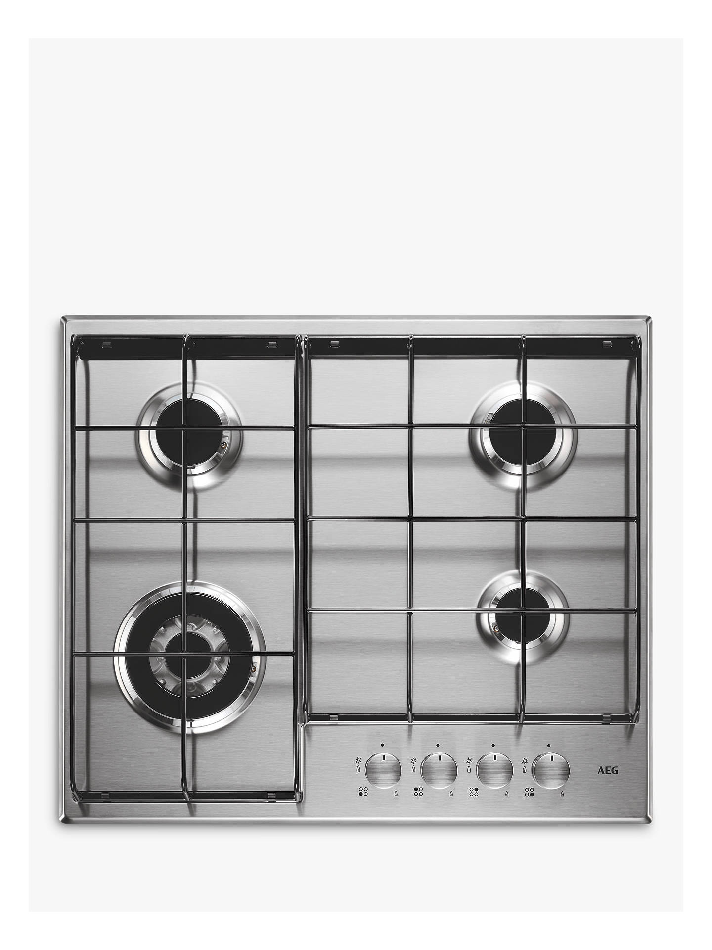 BuyAEG HG644351SM Integrated Gas Hob, Stainless Steel Online at johnlewis.com