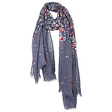Buy Fat Face Ruby Flower Spot Scarf, Navy Online at johnlewis.com