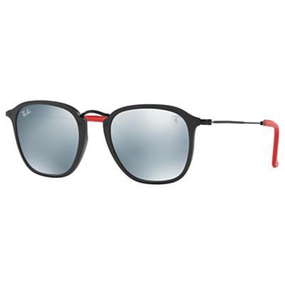 Ray-Ban RB2448NM Scuderia Ferrari Square Sunglasses, Black/Mirror Grey