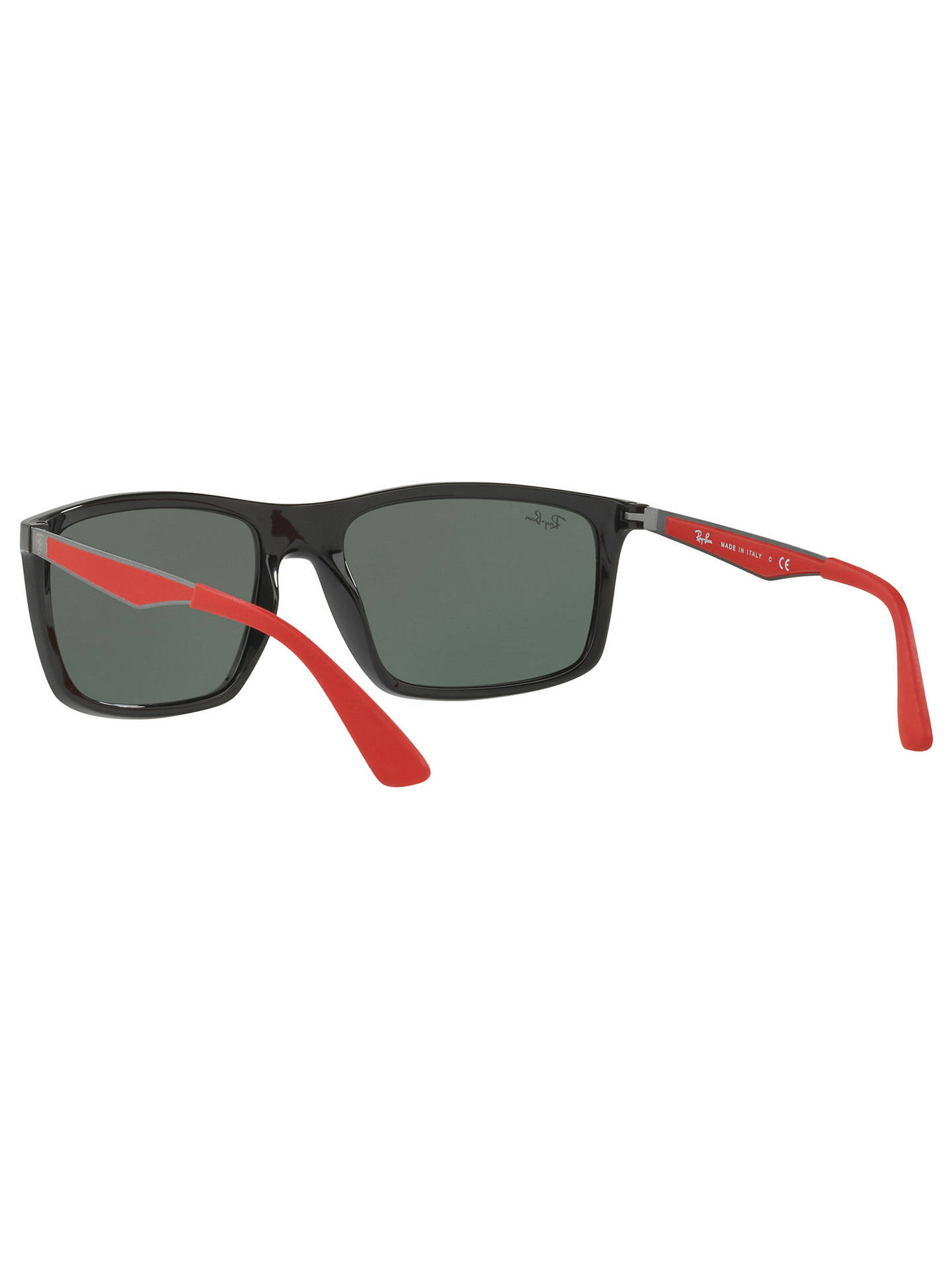 BuyRay-Ban RB4228M Scuderia Ferrari Rectangular Sunglasses, Black/Dark Green Online at johnlewis.com