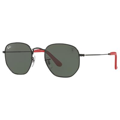 Ray-Ban RB3548 Scuderia Ferrari Hexagonal Flat Lens Sunglasses, Black