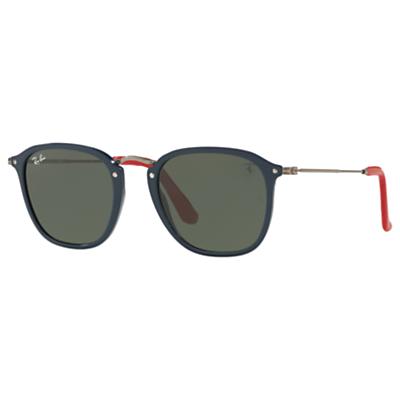 Ray-Ban RB2448N Square Sunglasses, Black/Dark Green