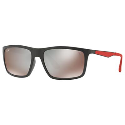 Ray-Ban RB4228M Scuderia Ferrari Polarised Rectangular Sunglasses, Matte Black/Mirror Beige