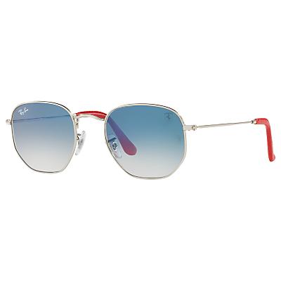 Ray-Ban RB3548NM Scuderia Ferrari Square Sunglasses, Silver/Blue Gradient