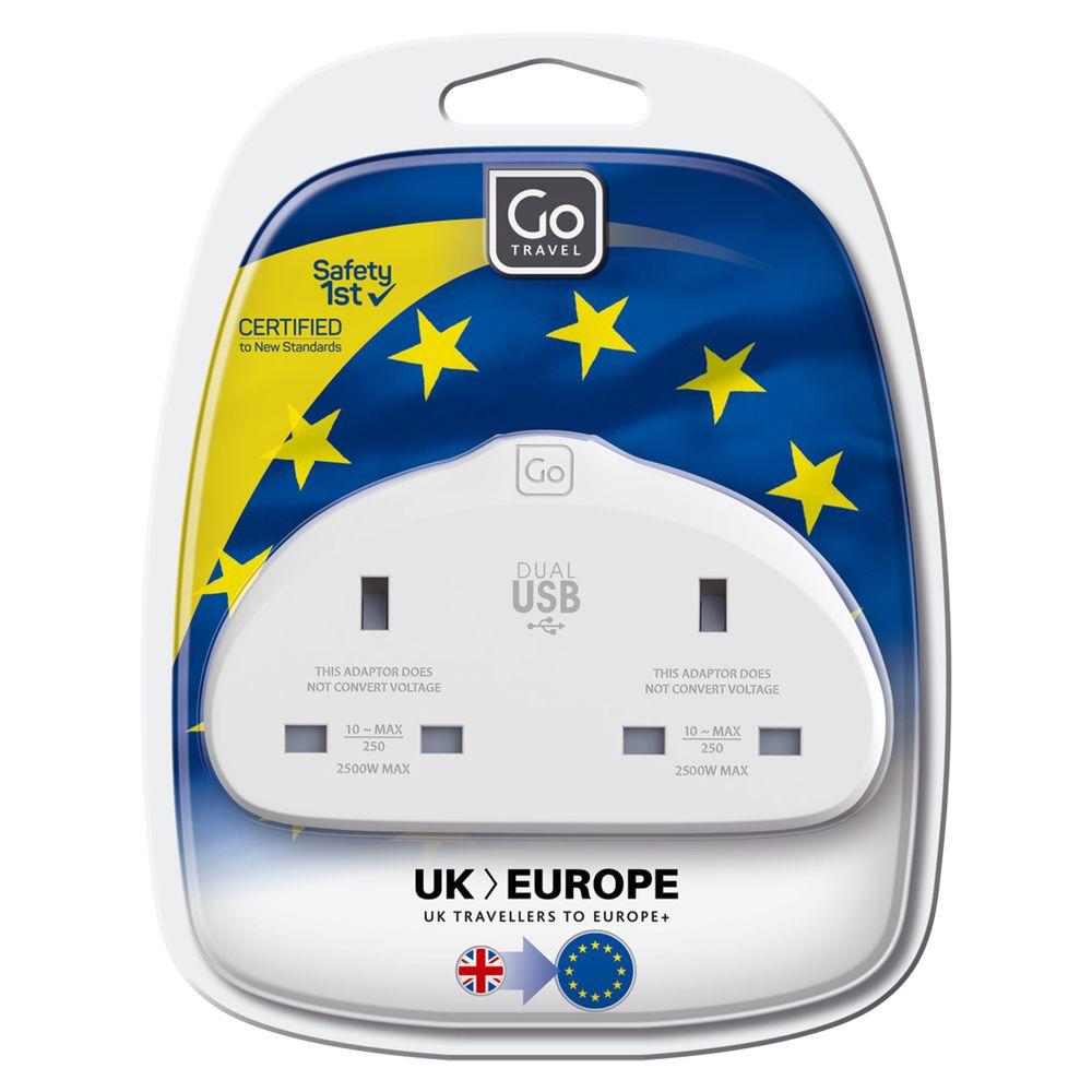 Go Travel Go Travel Duo USB UK to EU Travel Adaptor