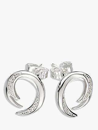 Kit Heath Twist Cubic Zirconia Stud Earrings, Silver
