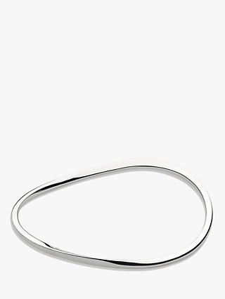 Kit Heath Bevel Curve Slim Wave Bangle, Silver