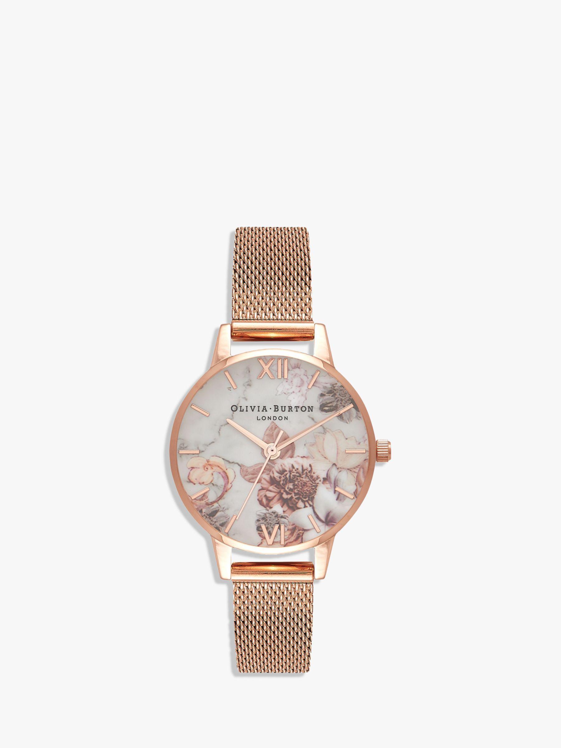 Olivia Burton Olivia Burton OB16CS06 Women's Marble Florals Mesh Bracelet Strap Watch, Rose Gold/Multi