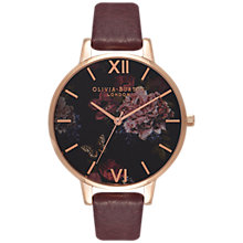 Buy Olivia Burton OB16WG24 Women's Winter Garden Leather Strap Watch, Burgundy/Multi Online at johnlewis.com