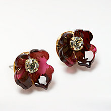 Buy John Lewis Abstract Flower Stud Earring, Magenta/Gold Online at johnlewis.com