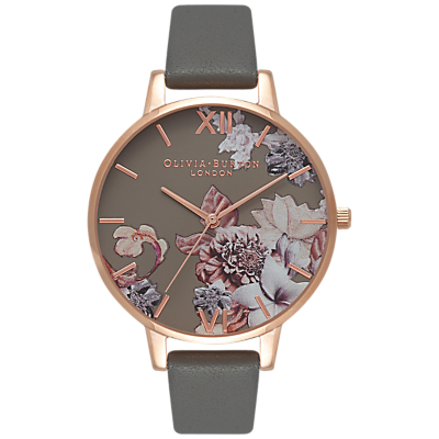 Olivia Burton OB16CS08 Women's Marble Florals Leather Strap Watch, Grey/Multi