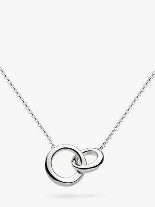 Kit Heath Bevel Curve Interlink Ring Pendant Necklace, Silver