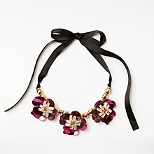 Buy John Lewis Abstract Flower Glass Necklace, Magenta/Black Online at johnlewis.com