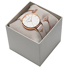 Buy Olivia Burton OB16GSET04 Women's Big Dial Leather Strap Watch and Bee Bangle Gift Set, Blush/White Online at johnlewis.com